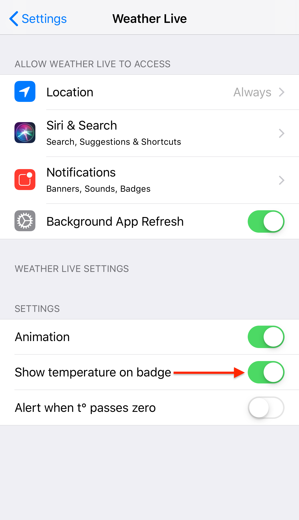 How to set temperature to be displayed on the icon badge? – Apalon
